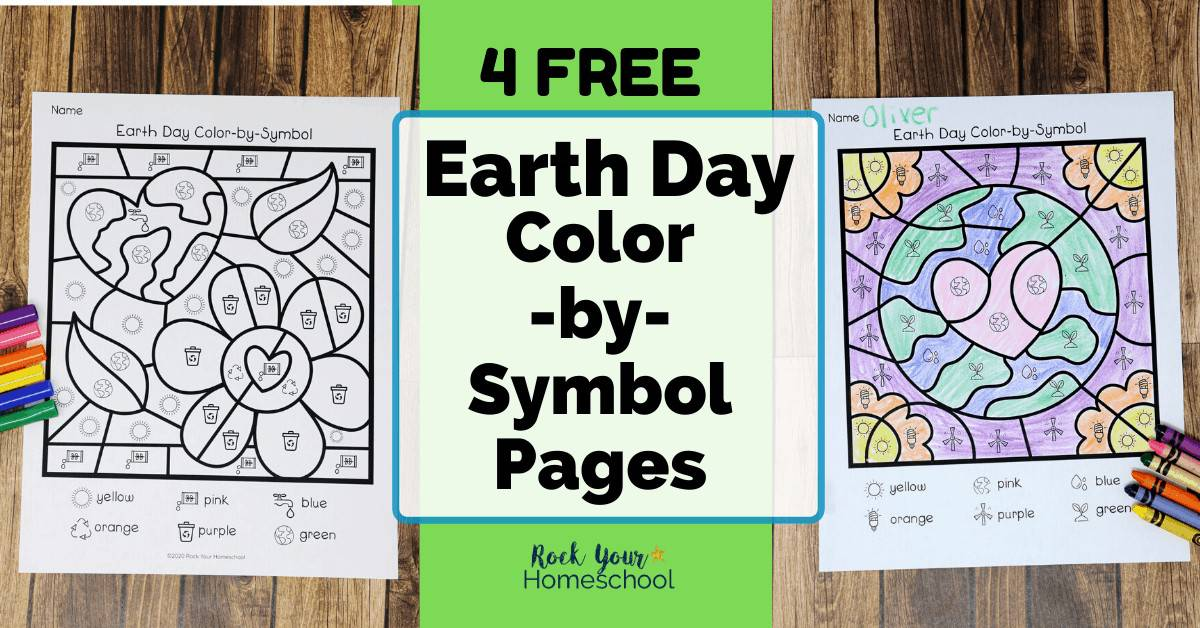 Your kids will have a blast with these free Earth Day Color-by-Symbol Pages for creative fun with environmental lessons.