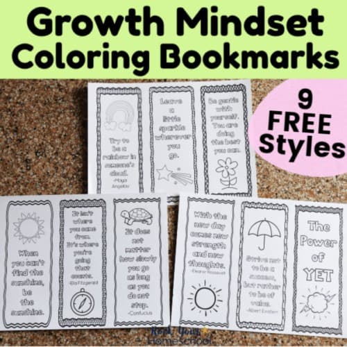 These 9 free growth mindset coloring bookmarks are the perfect activities for teaching & practicing growth mindset in a creative way with kids.