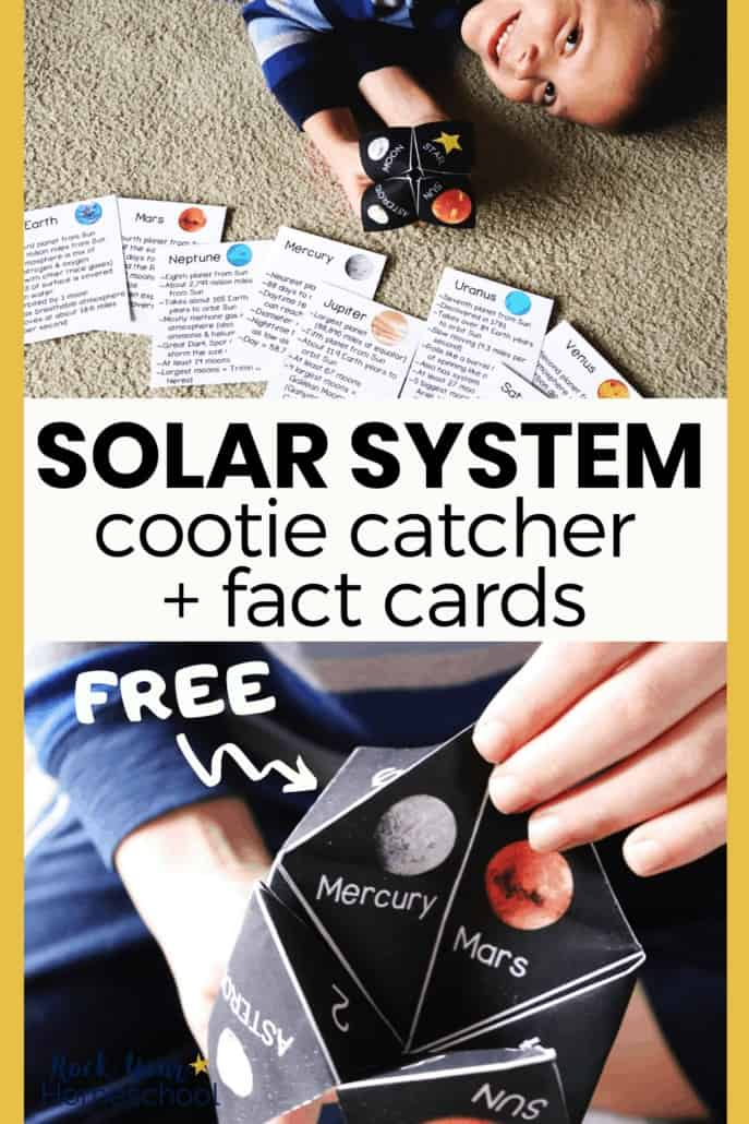 Boy holding solar system cootie catcher with planet fact cards and close-up of boy opening cootie catcher to feature the awesome science fun to be had using this free activity pack