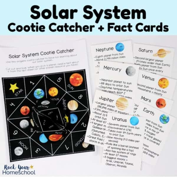 Enjoy easy hands-on science fun with this free printable activity pack of solar system cootie catcher + planet fact cards.