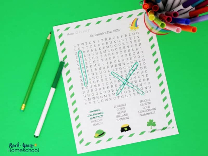 Enjoy this free St. Patrick's Day Word Search activity with your kids.