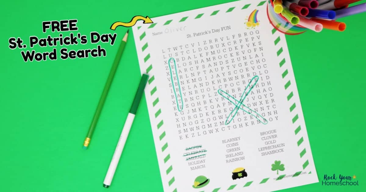 Your kids will have a blast with this FREE St. Patrick's Day Word Search activity.