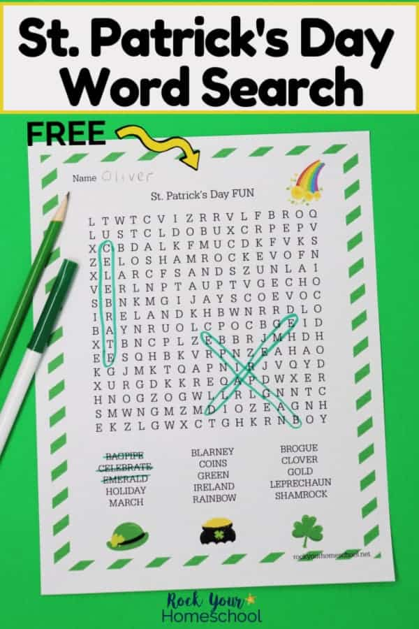Free St. Patrick's Day Word Search for kids with green pencil & marker on green paper to feature the holiday fun you can have with this printable activity