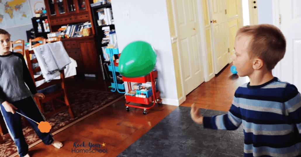 Your kids will have a blast playing balloon tennis for easy fun at home.