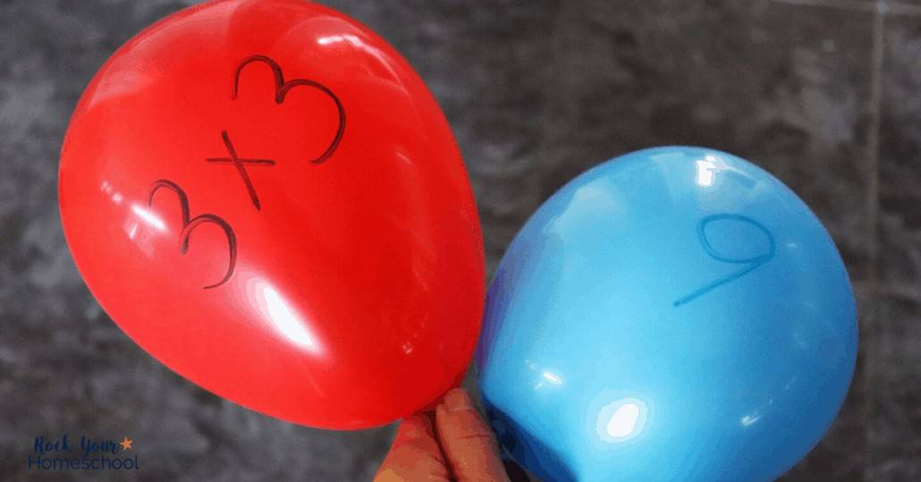 Practice multiplication facts & more for math fun at home using these balloon activities.