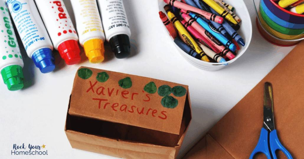 This DIY treasure box uses only a brown paper bag & coloring materials for a creative & fun challenge for your kids.