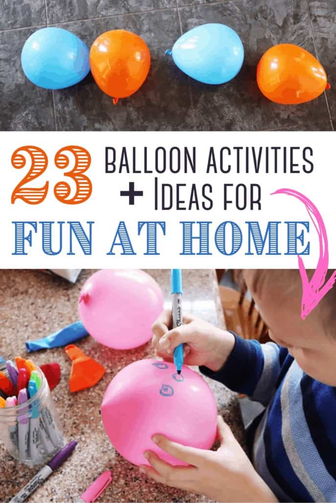pattern of blue & orange balloons & boy decorating balloon to feature how much fun your kids will have with these 23 balloon activities and ideas
