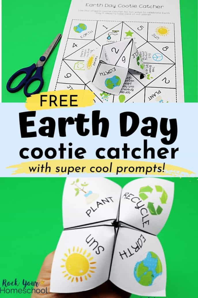 Earth Day cootie catcher & printable with scissors and woman holding it to feature the amazing fun you'll have with these cool prompts for learning fun about Earth Day with your kids