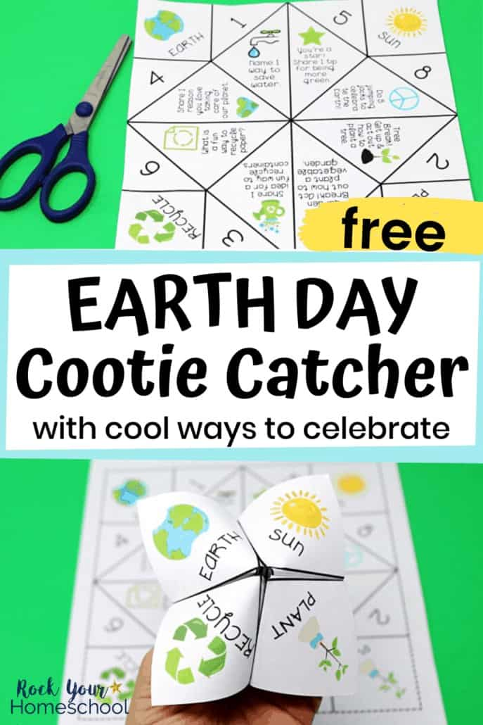 Earth Day cootie catcher with scissors & person holding Earth Day cootie catcher to feature the fantastic fun you'll have with your kids using this free Earth Day activity