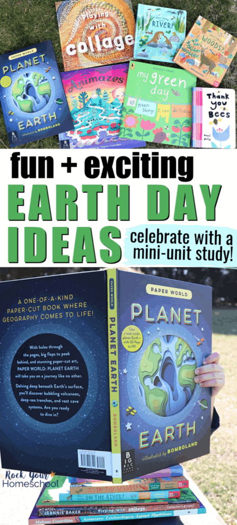 Variety of Candlewick Press books with Earth & environmental themes on grass and boy reading Planet Earth book to feature the variety of ideas & resources for a fun mini-unit study & celebration of this special day