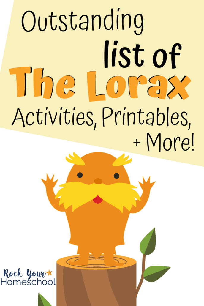 Cute clipart of The Lorax on stump to feature this outstanding list of The Lorax activities, printables, games, snacks, & more