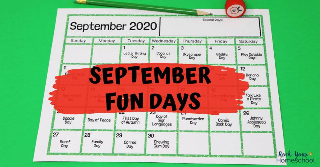Enjoy spectacular fun this September with these fun days & activities using this free printable calendar.
