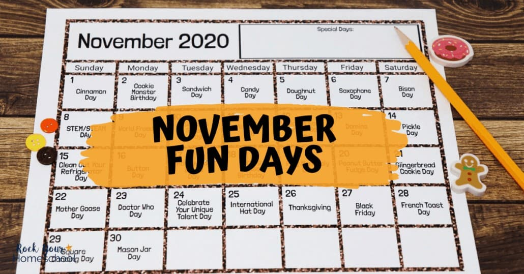 This free printable November Fun Days & Activities Calendar for Kids is an excellent way to easily enjoy fun at home with kids.