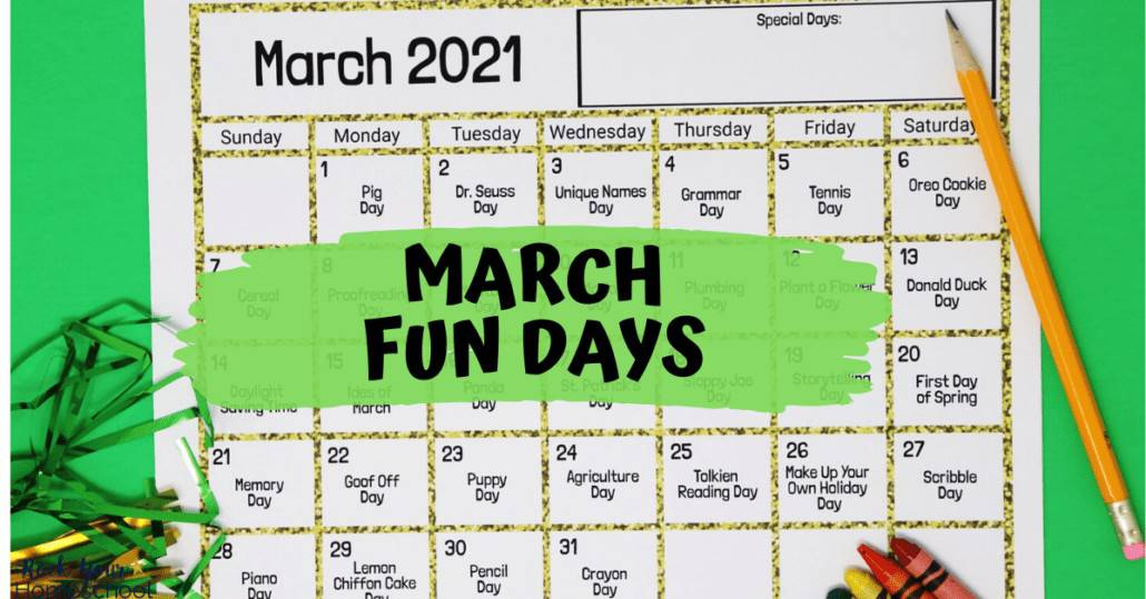 You can easily celebrate fun days & activities with your kids using these free printable calendars. Here's March 2021!