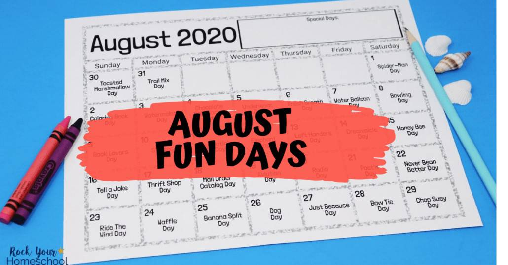 You'll love these totally awesome August fun days & activities to enjoy with your kids using this free printable calendar.