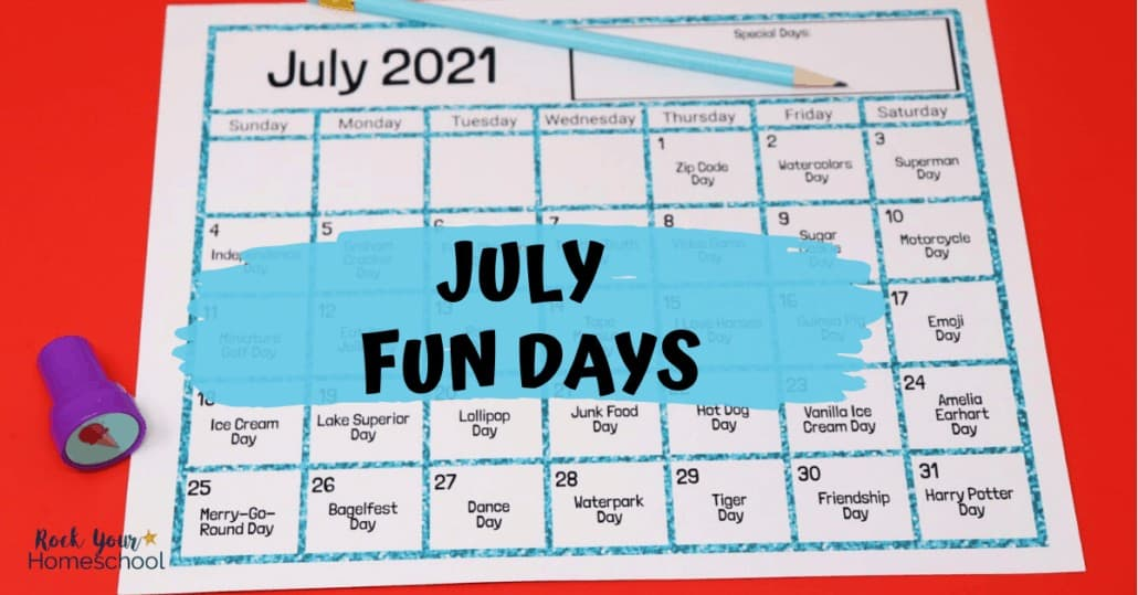 Enjoy July fun days & activities with your kids using this free printable calendar.