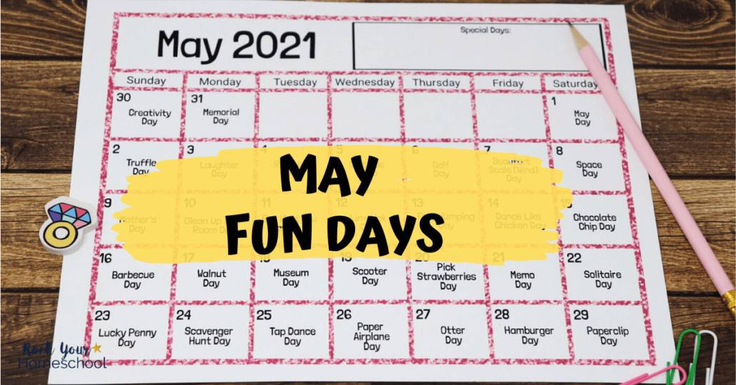 Make May marvelous with kids using this free printable calendar of fun days & activities.