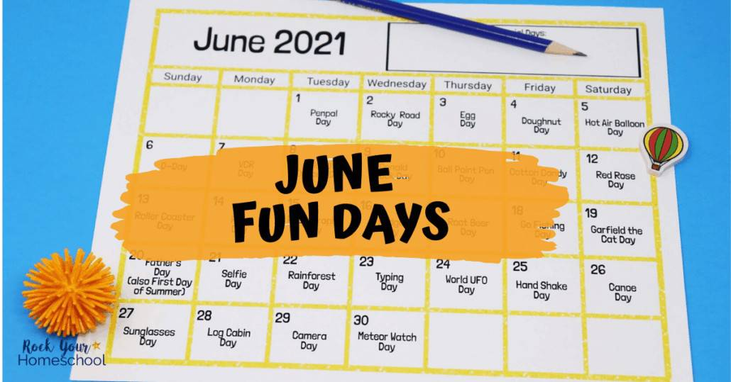 Get jumpstart to stupendous fun this June with this free printable calendar of fun days & activities.