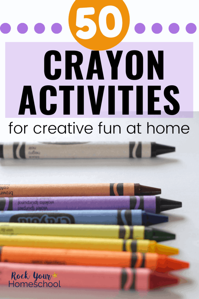 Rainbow of crayons to feature creative & frugal fun you can have at home with crayons