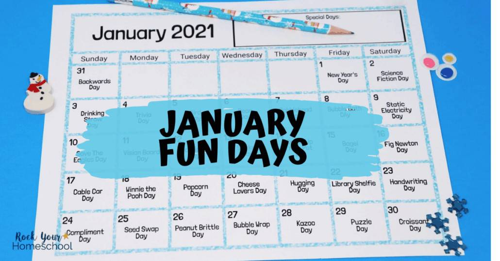 Here's an example of our January Fun Days & Activities Calendar for Kids.