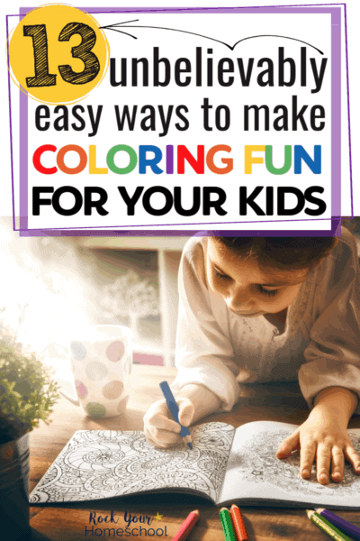 Girl smiling as she uses a crayon to color to feature how these 13 unbelievable easy ways to make coloring fun can help boost your child's creativity & more
