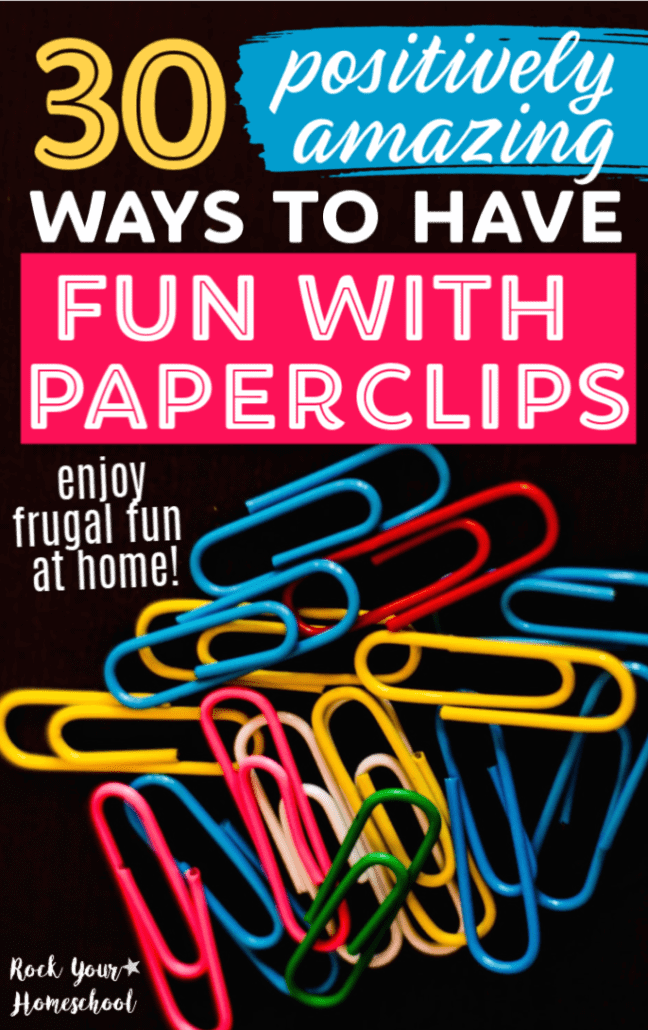 Colorful paperclips on black background to feature the 30 amazing ways you can have frugal fun with paperclips