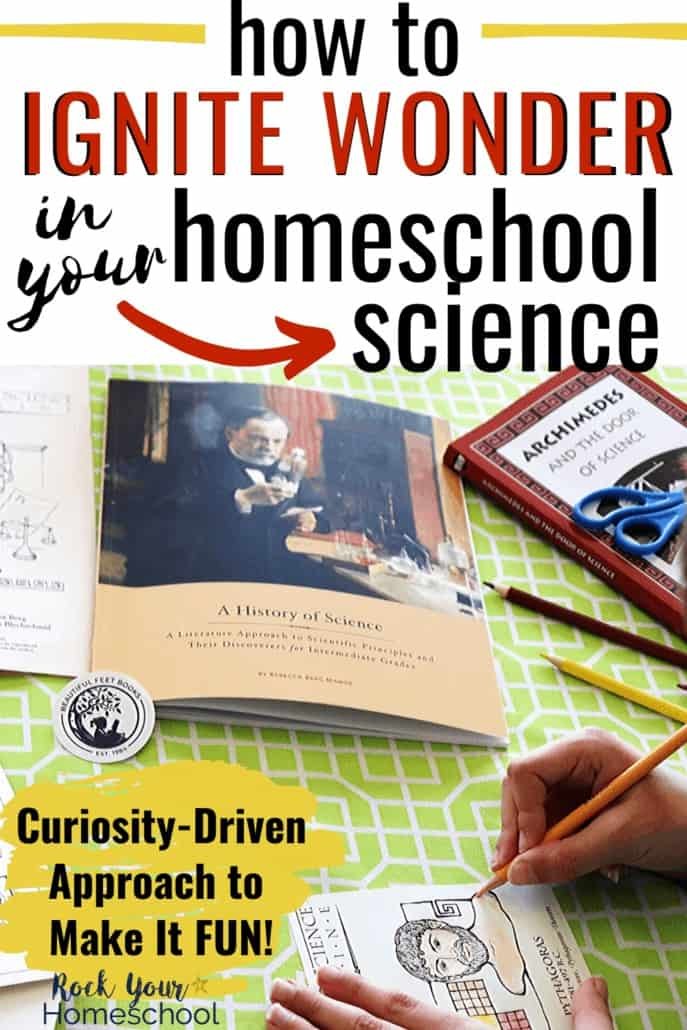 Boy coloring science timeline figure with Beautiful Feet Books A History of Science resources in background to feature how to ignite wonder in your homeschool science with curiosity-driven learning