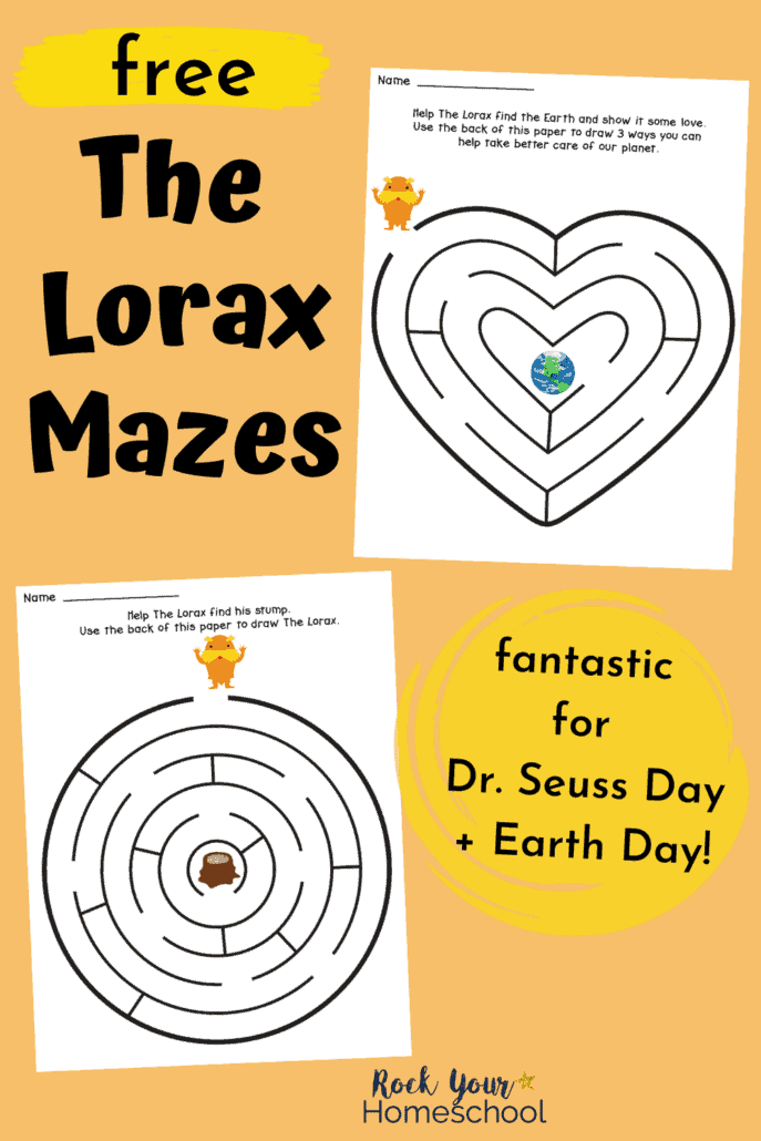 2 free The Lorax Mazes to feature the amazing fun your kids will have these Dr. Seuss printables