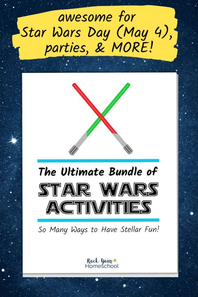 The Ultimate Bundle of Star Wars Activities with red & green light sabers on space background the feature the stellar fun you'll have with this variety of ways to enjoy Star Wars fun