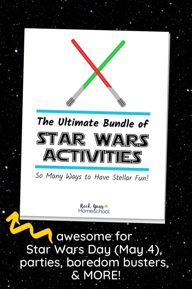 The Ultimate Bundle of Star Wars Activities cover with red & green light sabers on space background to feature the extra stellar fun you'll have with the variety of games, puzzles, coloring pages, & more for Star Wars fun