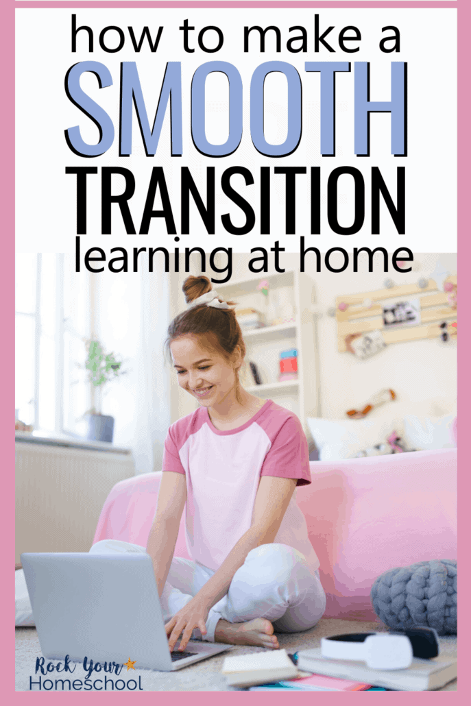 Smiling girl relaxing in her room with laptop to feature how you can make a smooth transition to learning at home