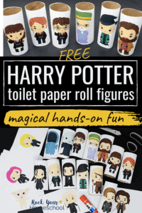Harry Potter toilet paper roll figures of Hermione, Ron, Harry, Dumbledore, Professor McGonagall, Hagrid & more to feature the magical fun you can have with these free printable activities
