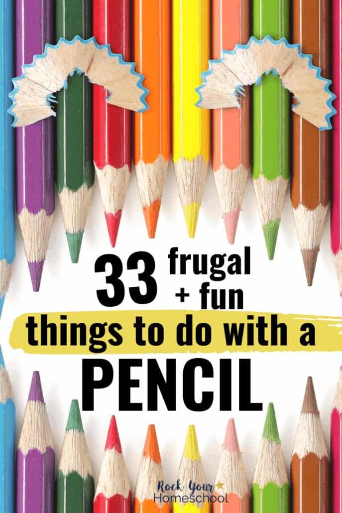 Color pencils in shape of face with pencil shaving for eyes to feature the 33 frugal & fun things to do with a pencil for easy fun at home with your kids