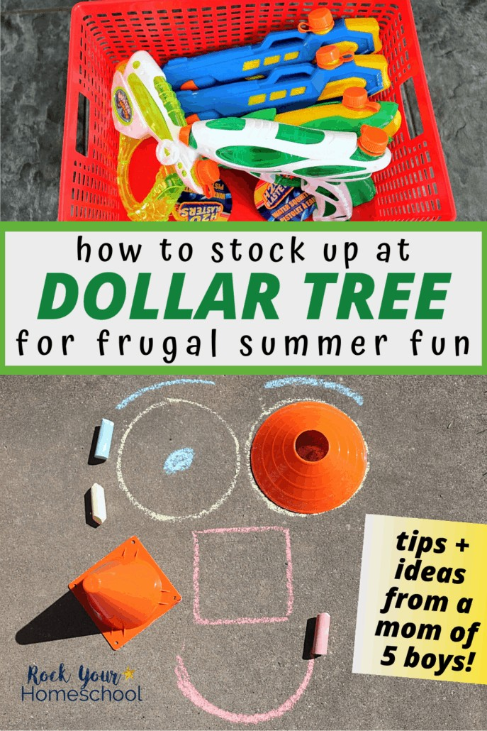 Red plastic basket of water guns & smiley face made with sidewalk chalk and playground cones to feature all the frugal summer fun at home you can have with your family