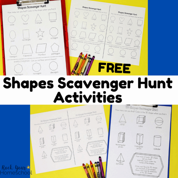 Enjoy simple math fun with these free shapes scavenger hunt printables.