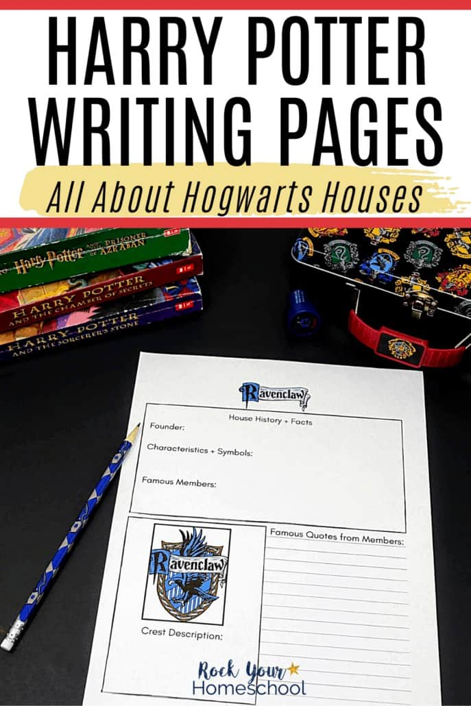 Ravenclaw House writing page with pencil, books, & pencil case to feature how these free Harry Potter writing pages are amazing ways to add a touch of magic to writing