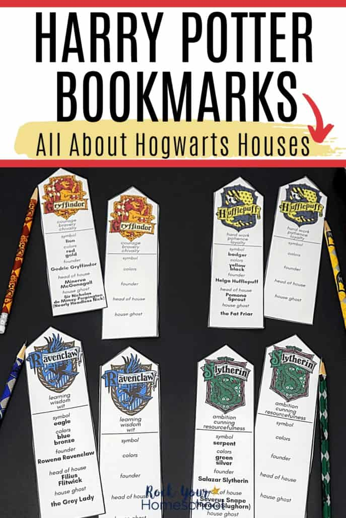 Harry Potter bookmarks featuring Hogwarts Houses of Gryffindor, Hufflepuff, Ravenclaw, & Slytherin to show how you can easily make reading fun with these free printable bookmarks
