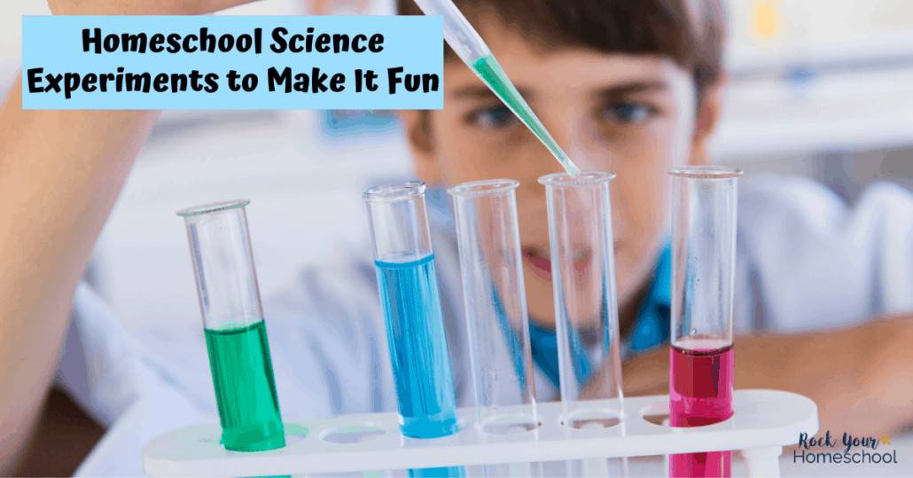 Boy with chemistry equipment for doing fun science activities at home to feature one of the ways to make homeschool science fun.