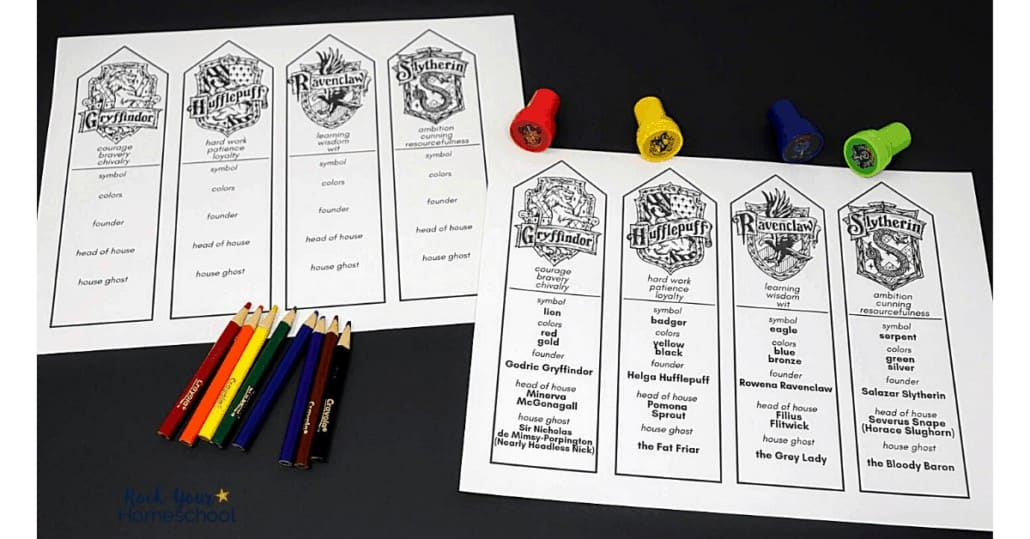 Your kids will have a blast coloring these Harry Potter bookmarks featuring Hogwarts Houses.