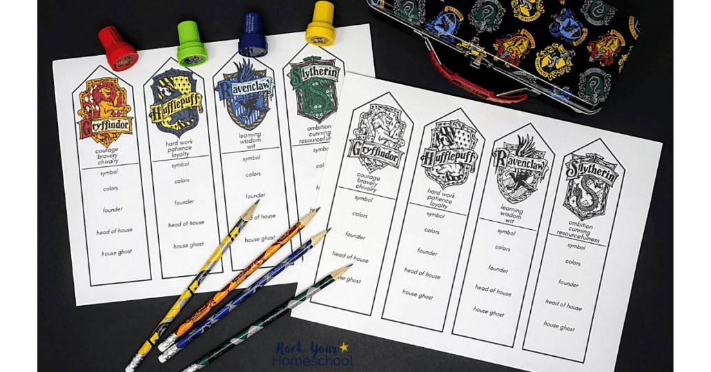 Your kids have a choice of color or black-and-white versions of these free Harry Potter bookmarks featuring Hogwarts Houses.