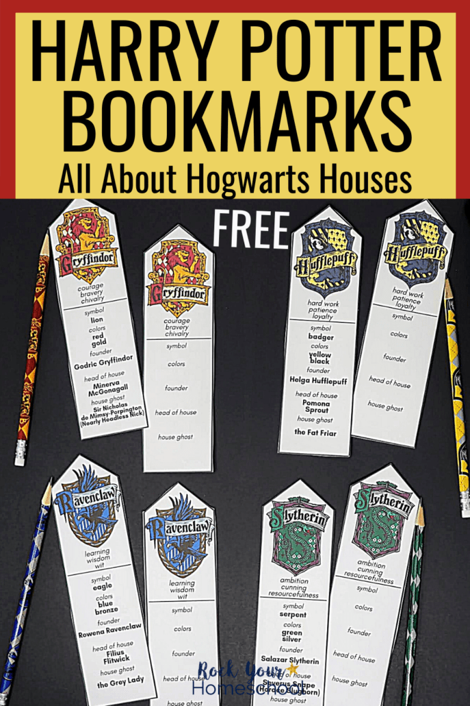 Free Harry Potter bookmarks featuring Hogwarts Houses to show how you can easily add a touch of magic to your reading fun with these free printable bookmarks