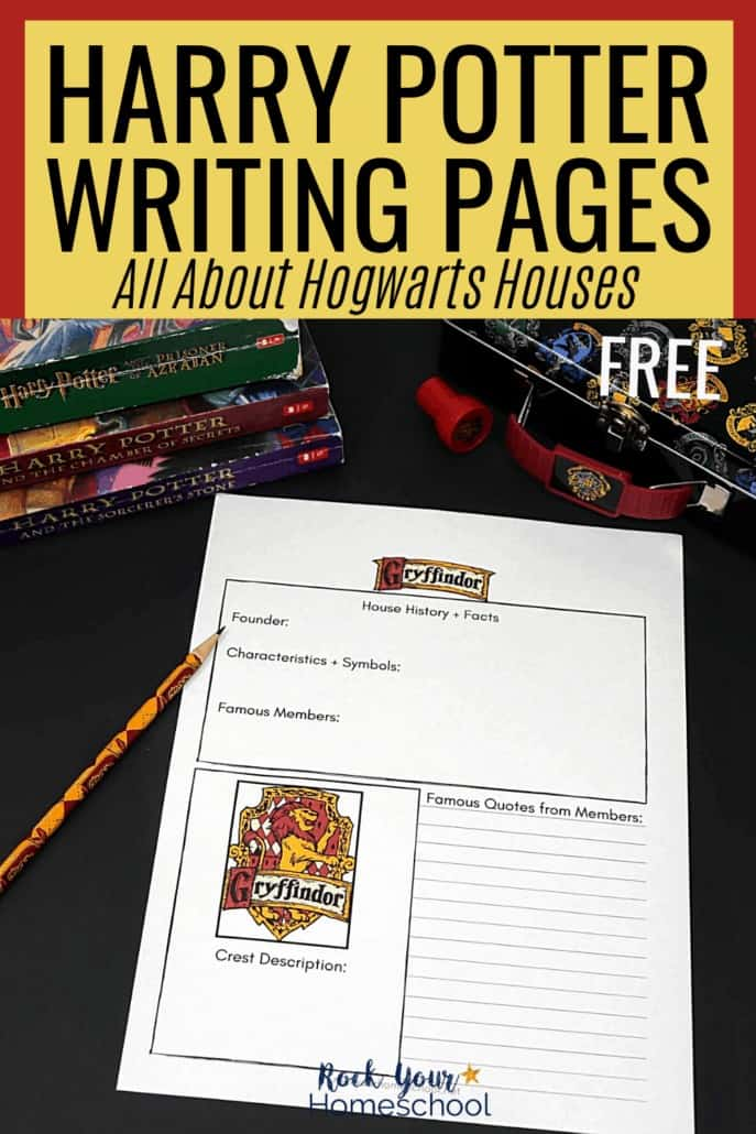 Gryffindor House writing page with pencil, books, & pencil case to feature how these Harry Potter writing pages help you make learning fun