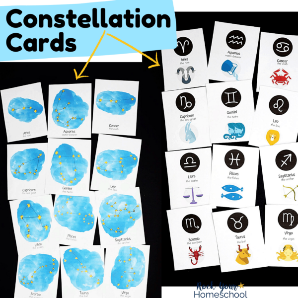 These free constellation cards have 2 styles for special science fun with kids.