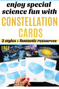 Woman holding constellation card with other cards & books in background to feature the special science fun you can have with these free constellation cards