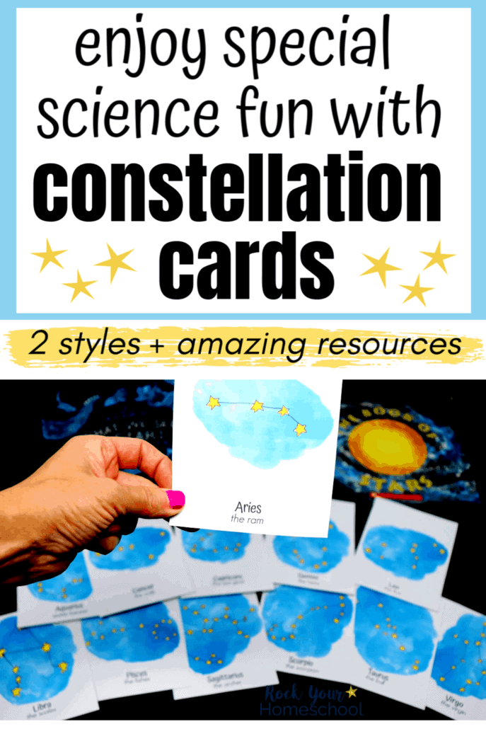 Woman holding constellation card with other cards & books in background to feature the amazing science fun you can have with these free constellation cards