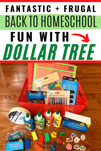 Dollar Tree school & office supplies like index cards, erasers, paper clips, & more to feature the fantastic & frugal back to homeschool fun you can have by stocking up with Dollar Tree
