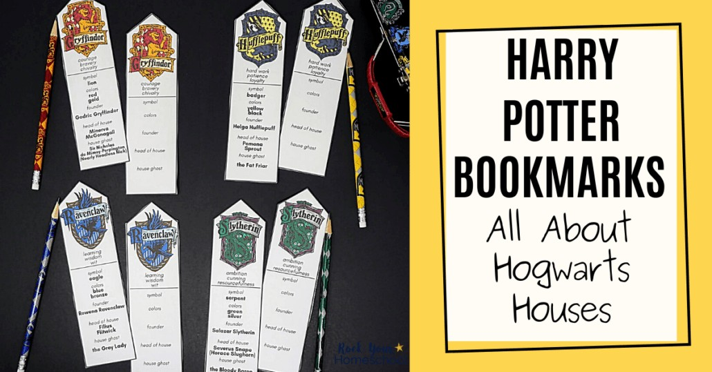 Add a touch of magic to your reading fun with these free Harry Potter bookmarks featuring Hogwarts Houses.