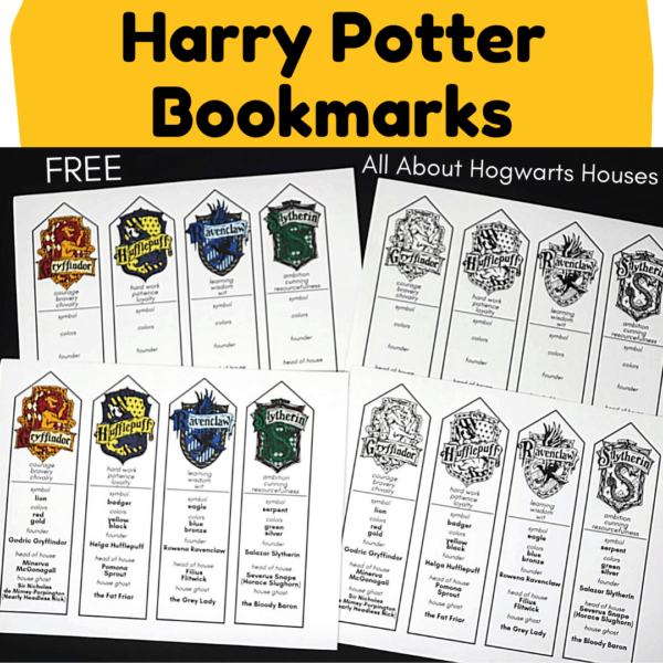 These free Harry Potter bookmarks featuring Hogwarts Houses are fantastic for reading fun.