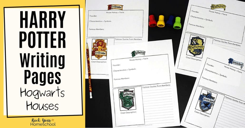 These free Harry Potter writing pages are excellent ways to record notes about each of the Hogwarts Houses.
