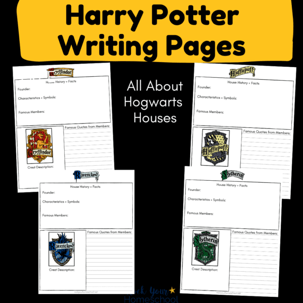 These free Harry Potter writing pages featuring Hogwarts Houses are amazing ways to boost writing fun.